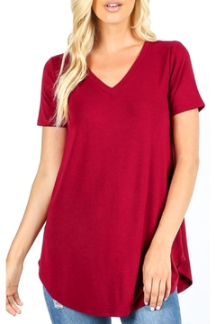Zenana Outfitters V-Neck Tee-Cabernet - Alternate List Image