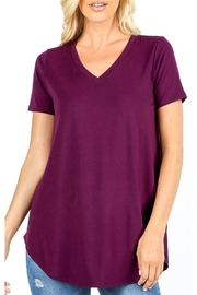 Zenana Outfitters V-Neck Tee - Dark Plum - Product Mini Image