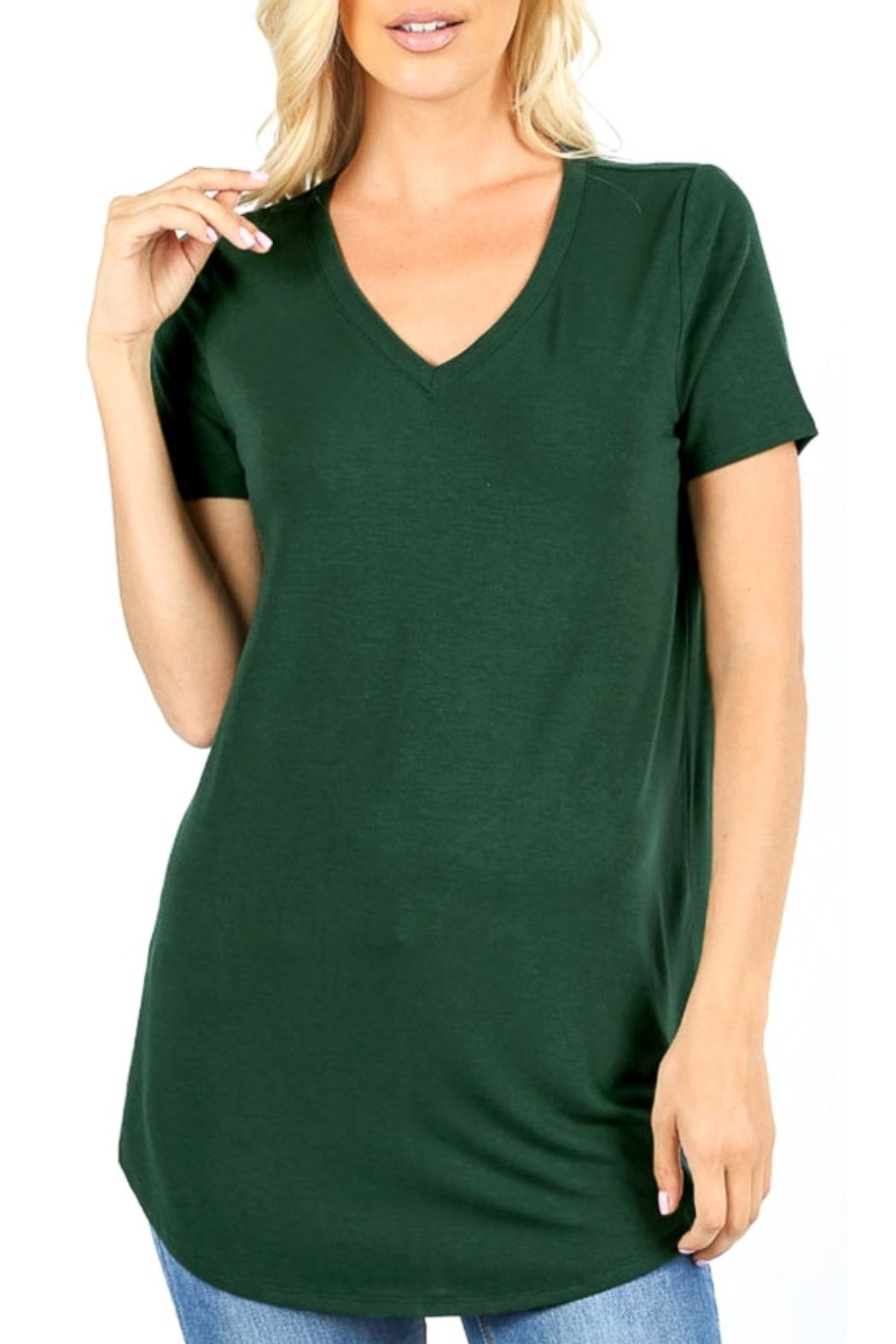 Zenana Outfitters V-Neck Tee-Hunter Green - Main Image