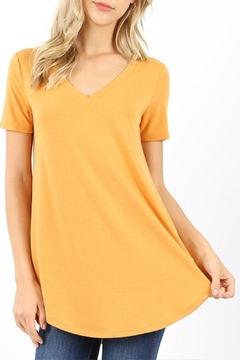 Zenana Outfitters V-Neck Tee-Mustard - Product List Image