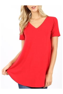 Zenana Outfitters V-Neck Tee - Ruby - Alternate List Image