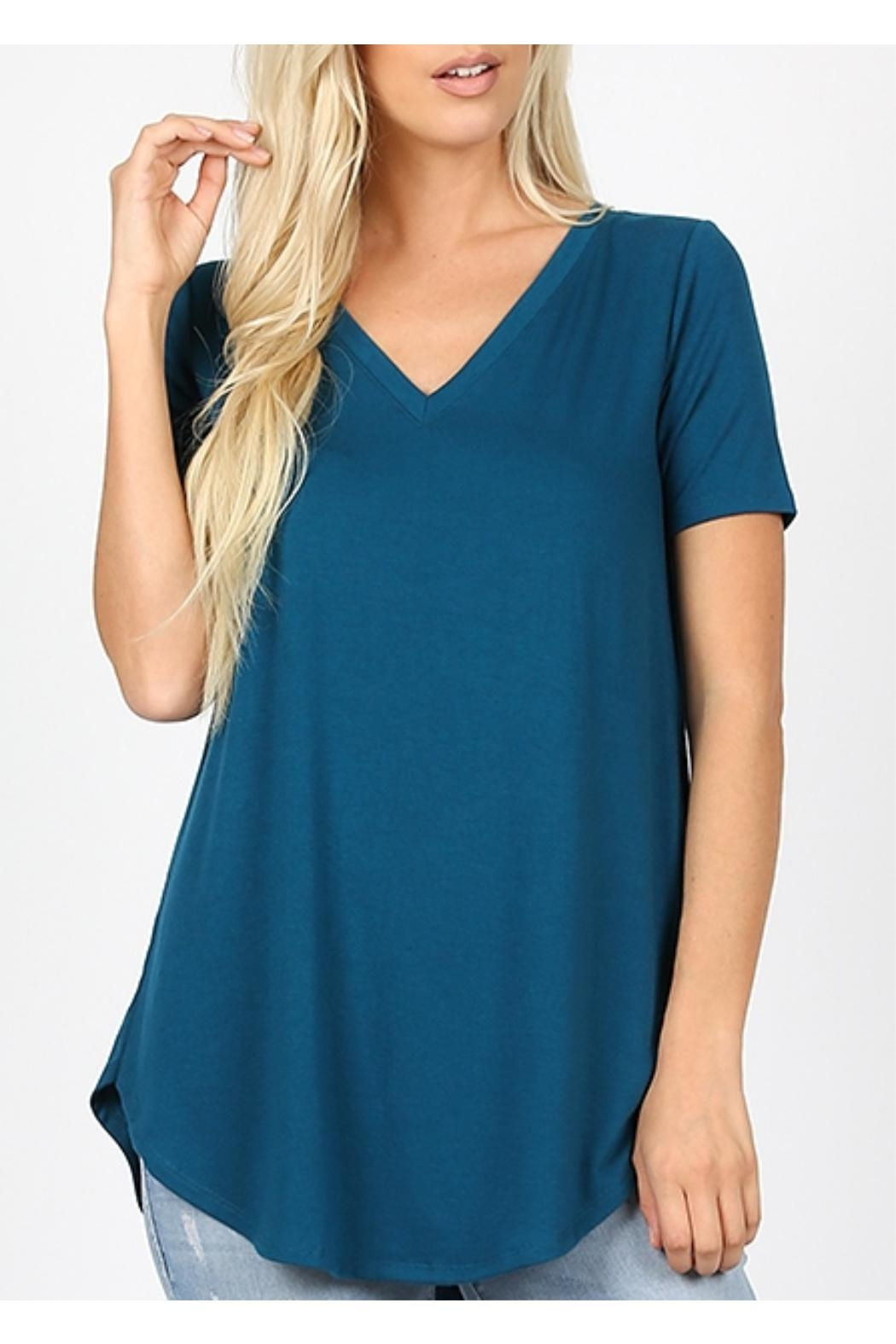 Zenana Outfitters V-Neck Tee - Teal - Main Image