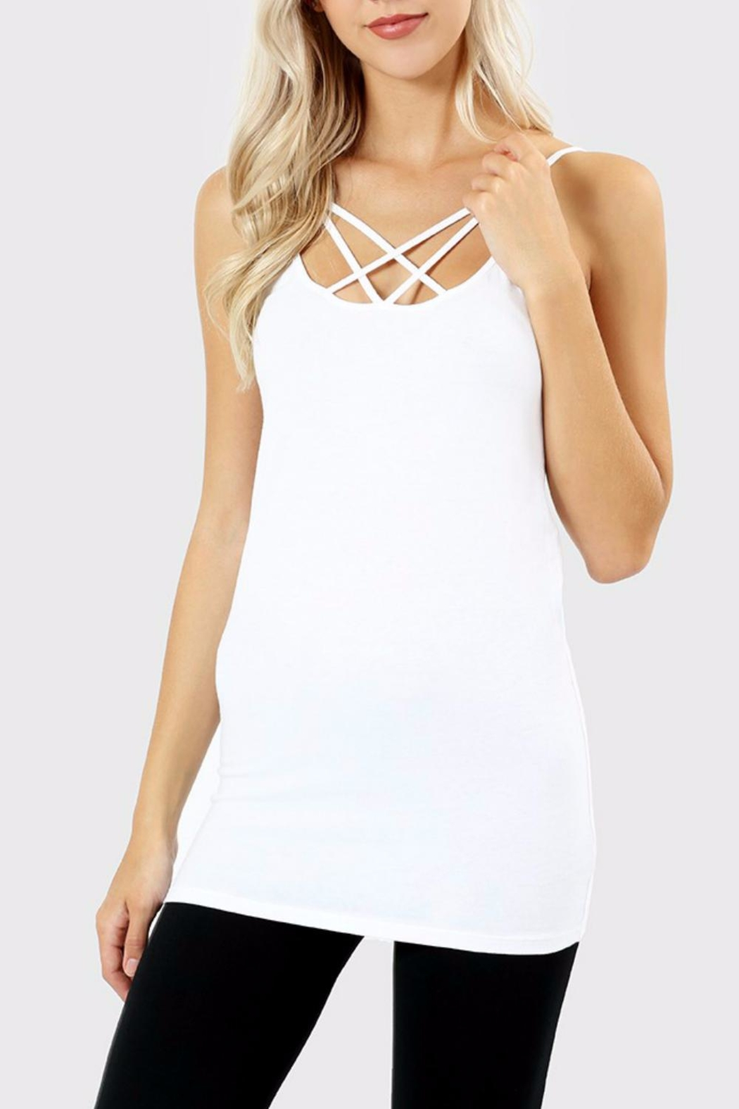 Zenana Outfitters White Caged Cami - Main Image
