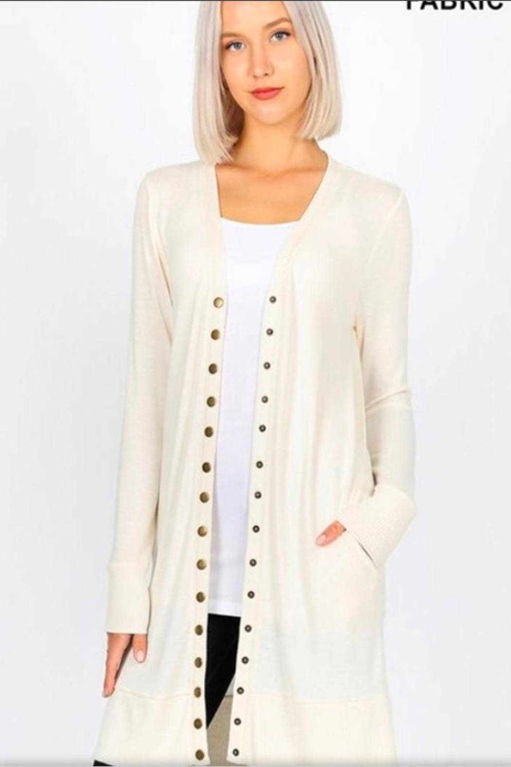 Zenana Outfitters White Long Cardigan - Front Cropped Image
