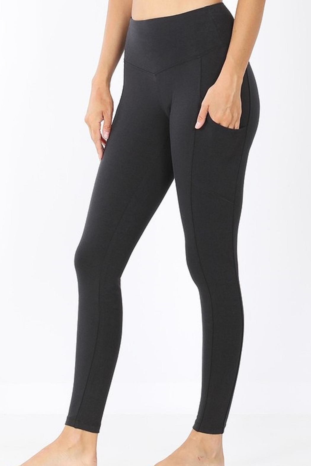 Zenana Outfitters Wide-Waistband Pocket Leggings - Front Cropped Image