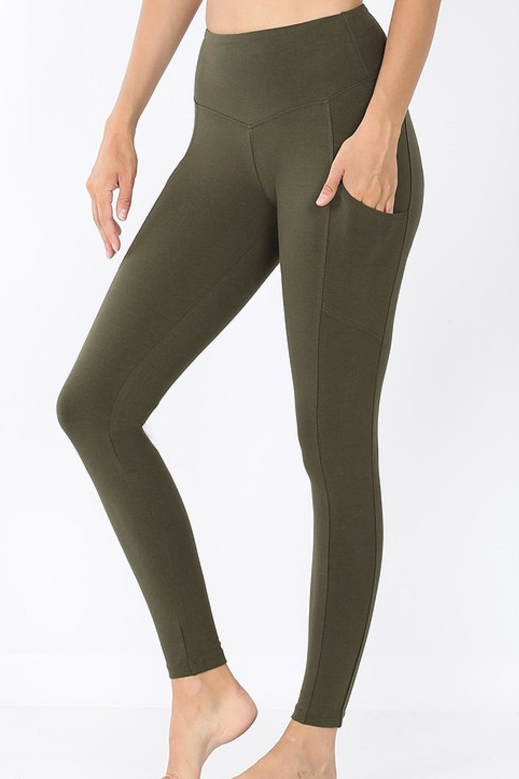 Zenana Outfitters Wide-Waistband Pocket Leggings - Main Image
