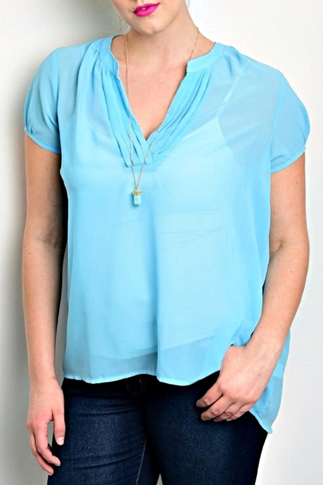 Zenobia Baby Blue Blouse - Front Cropped Image