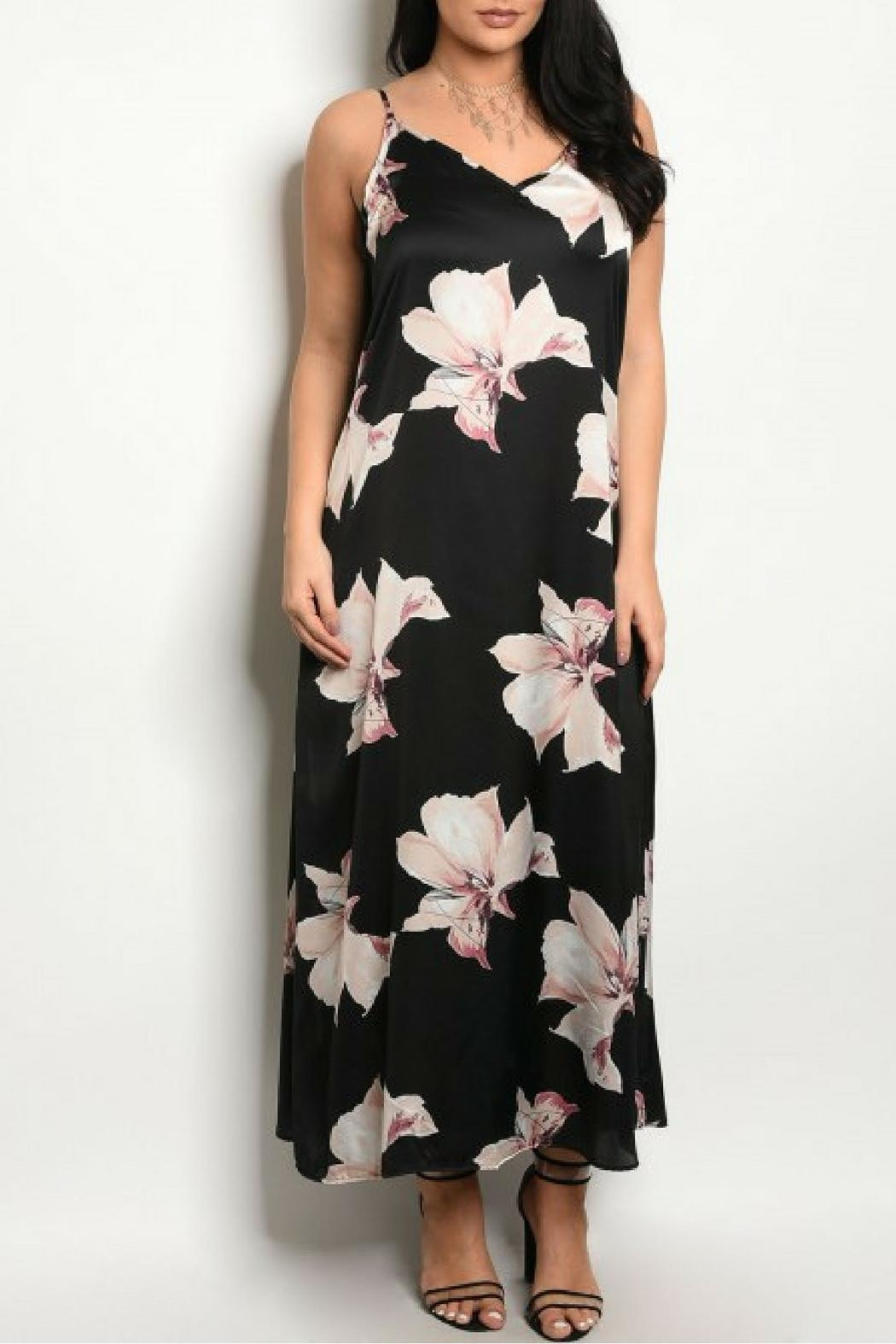 Zenobia Black Floral Dress - Front Cropped Image