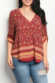 Zenobia Burgundy Floral Top - Product Mini Image