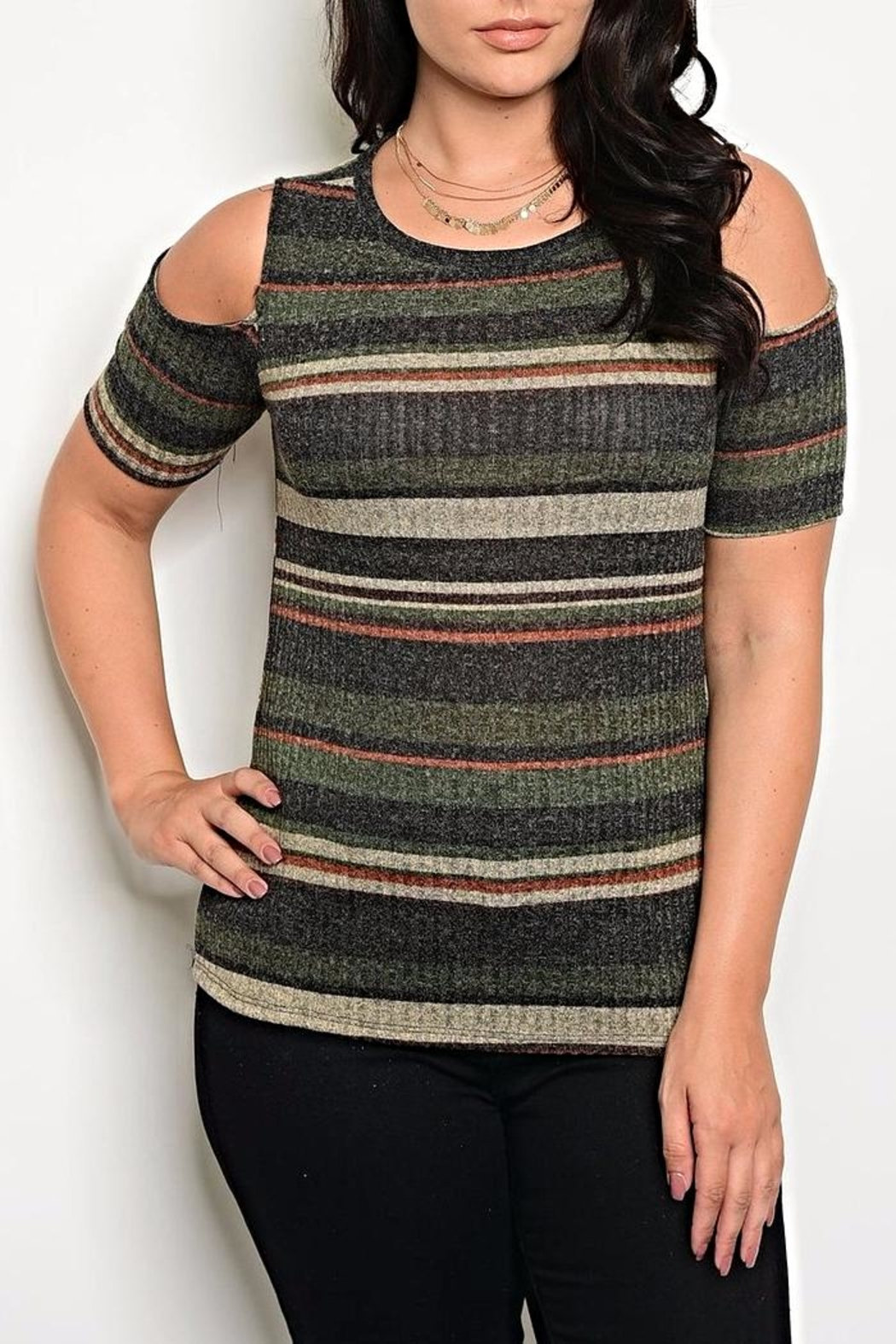 Zenobia Charcoal Shoulder Sweater - Main Image