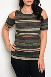 Zenobia Charcoal Shoulder Sweater - Front cropped