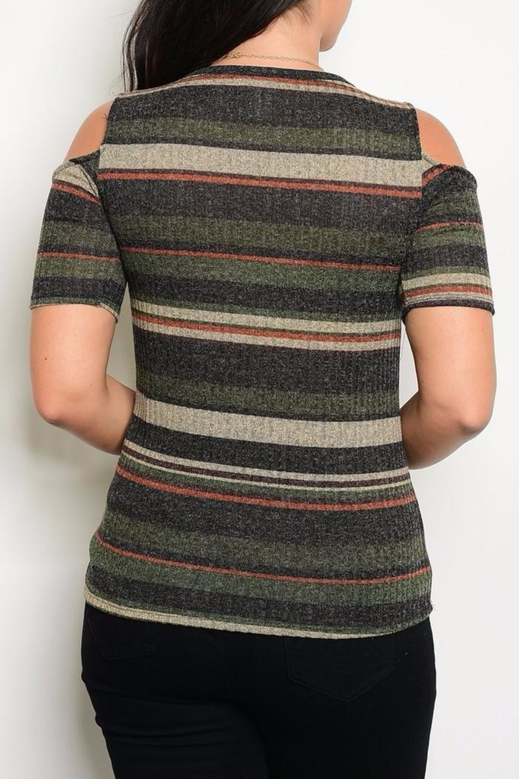Zenobia Charcoal Shoulder Sweater - Front Full Image
