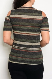 Zenobia Charcoal Shoulder Sweater - Front full body