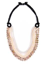 Zenzii Beaded Leather Necklace - Front cropped