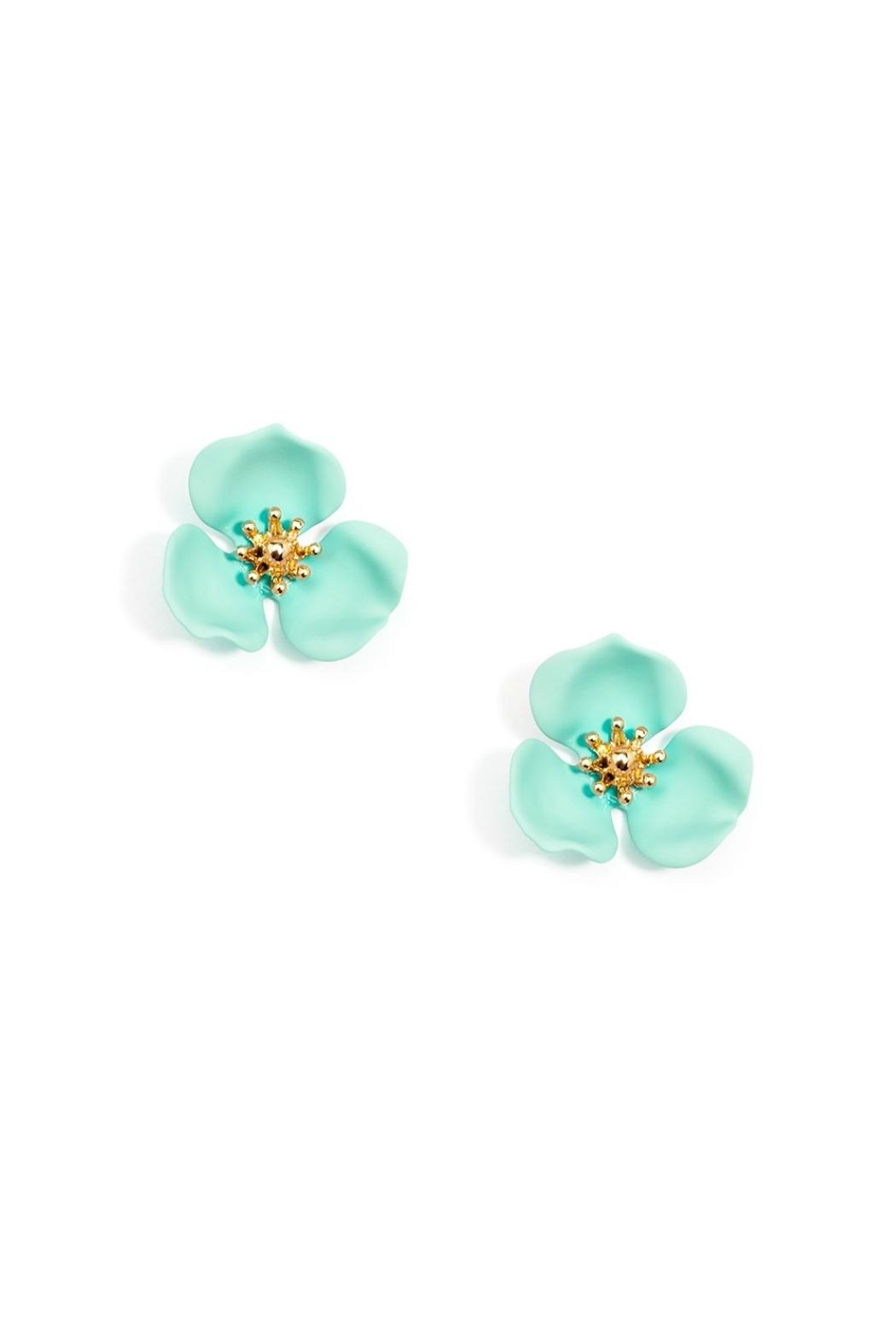 Zenzii Mint Flower Studs - Front Cropped Image