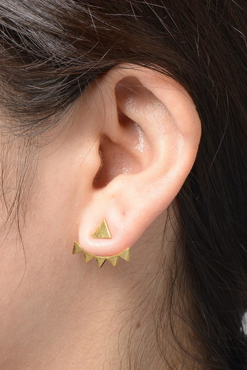 Zenzii Spiked Angles Earrings - Back Cropped Image