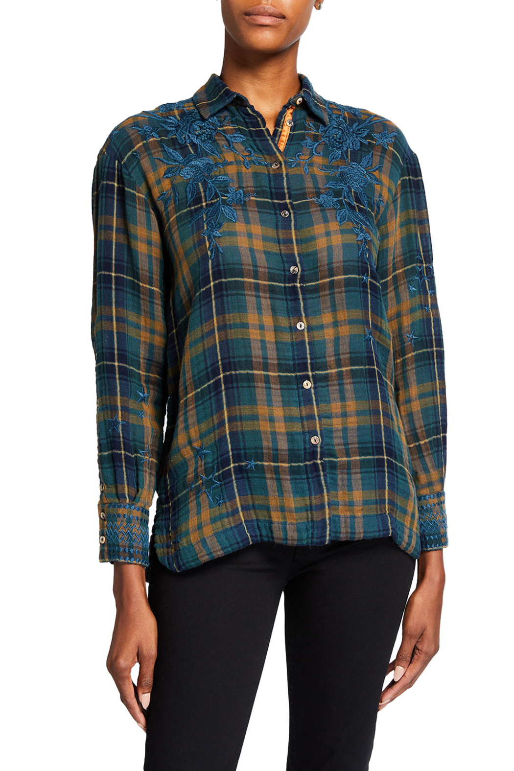 Johnny Was zhenya Shirt Plaid - Front Cropped Image
