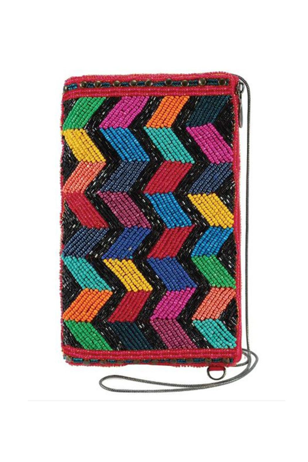 Mary Frances Accessories Zig Zag Black Beaded Chevron Pattern Crossbody Phone Bag - Main Image