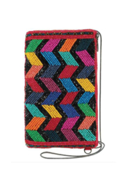 Mary Frances Accessories Zig Zag Black Beaded Chevron Pattern Crossbody Phone Bag - Front cropped