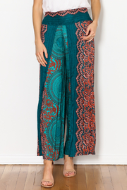 Zig Zag Palazzo Flower Pant - Front full body