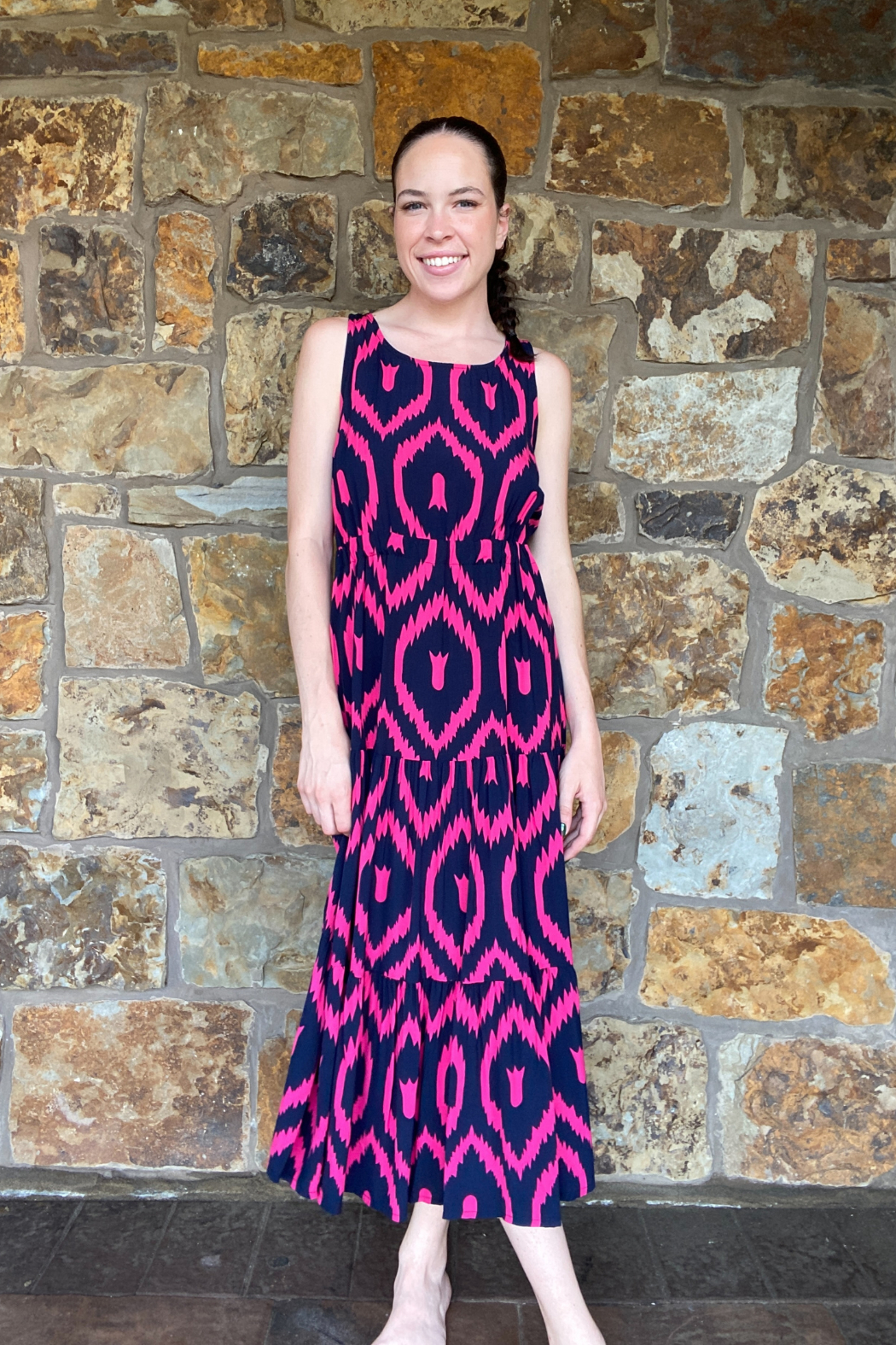 Lola Made in Italy Zigzag print Maxi w Back Cutout - Front Full Image