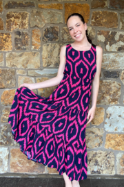 Lola Made in Italy Zigzag print Maxi w Back Cutout - Side cropped