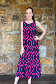 Lola Made in Italy Zigzag print Maxi w Back Cutout - Front cropped
