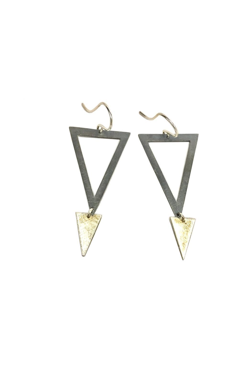 Zina Kao Silver Triangle Earrings - Front Cropped Image