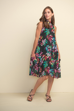 Joseph Ribkoff  zip back high neck floral A line dress - Product List Image