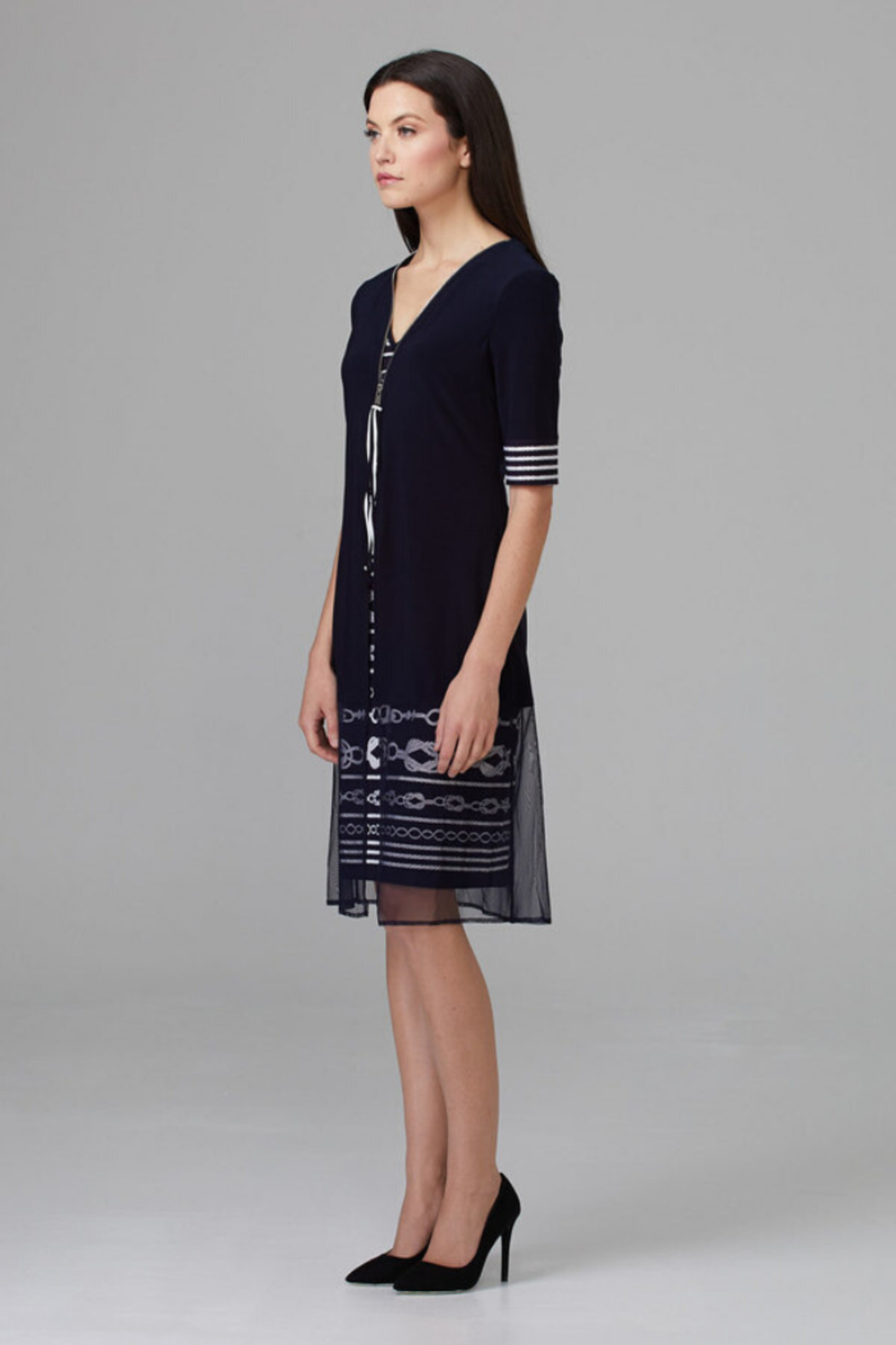 Joseph Ribkoff Zip Detail Dress - Side Cropped Image