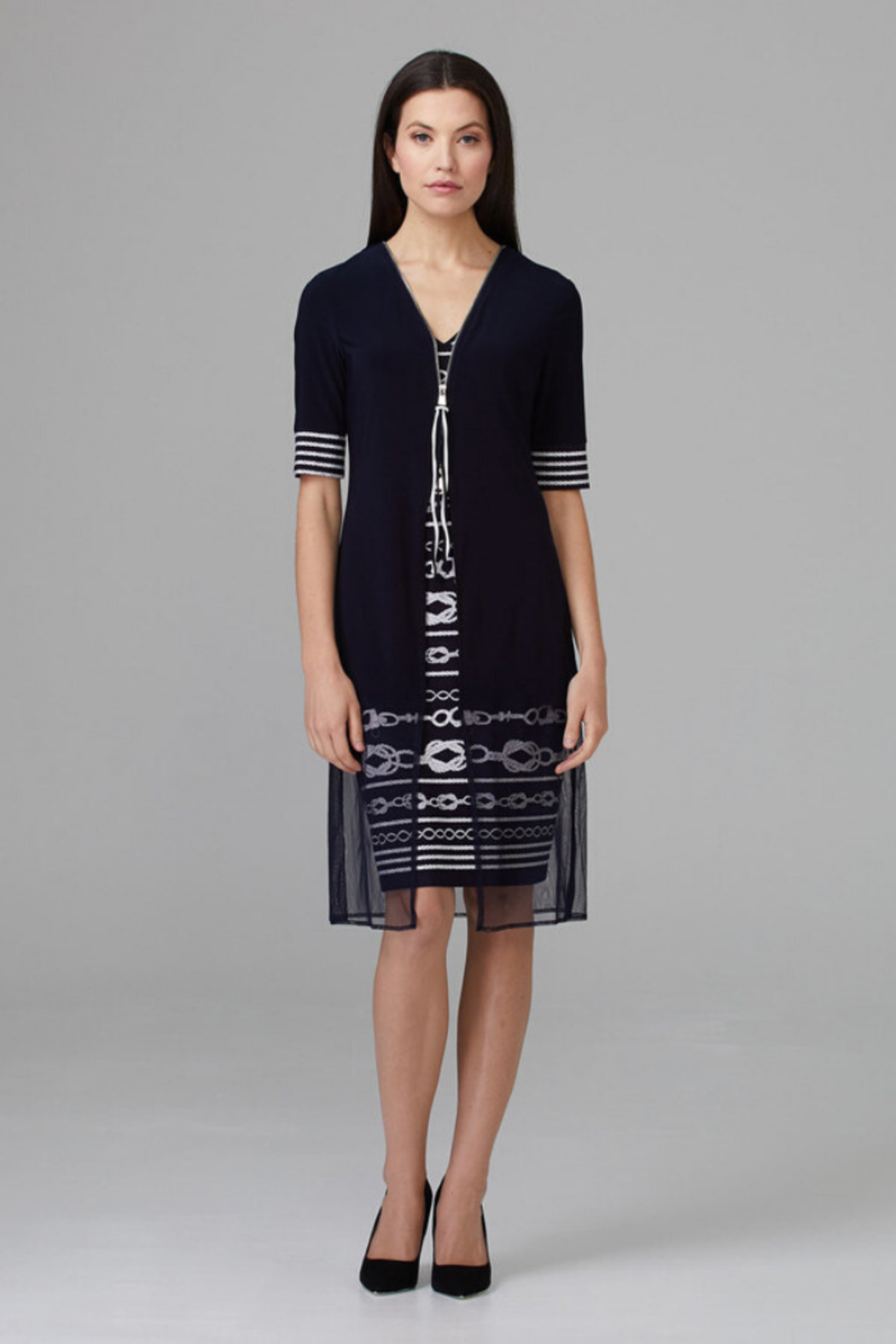 Joseph Ribkoff Zip Detail Dress - Front Full Image