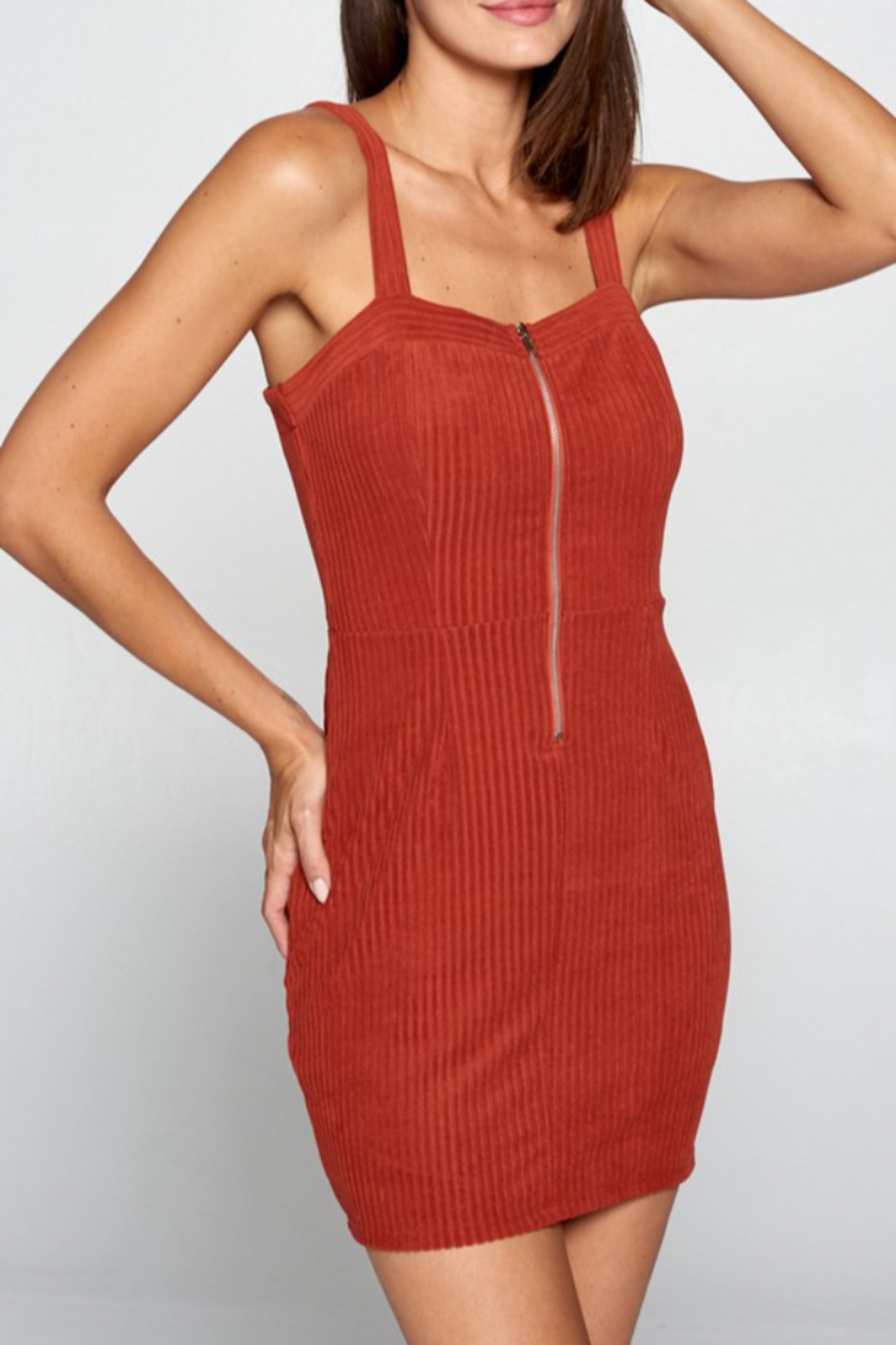 Apple Tree  Zip Front Corduroy Dress - Front Cropped Image