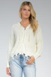 Elan  Zip Front Frayed Cardigan - Product Mini Image