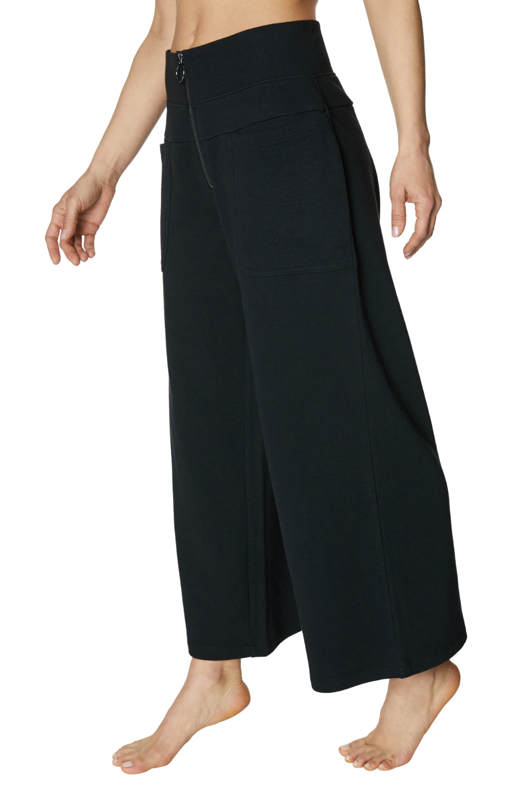Betsey Johnson Zip Front Hi Waisted Crop Sweatpant - Front Full Image