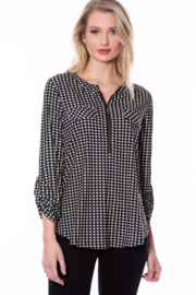 Multiples Zip Front Knit Top - Product Mini Image