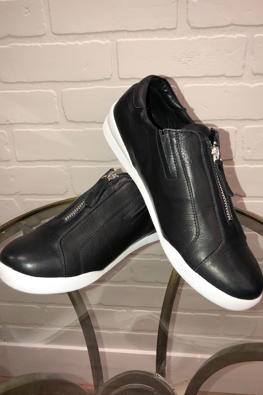 Andrea Conti Zip Front Sneaker - Front Cropped Image