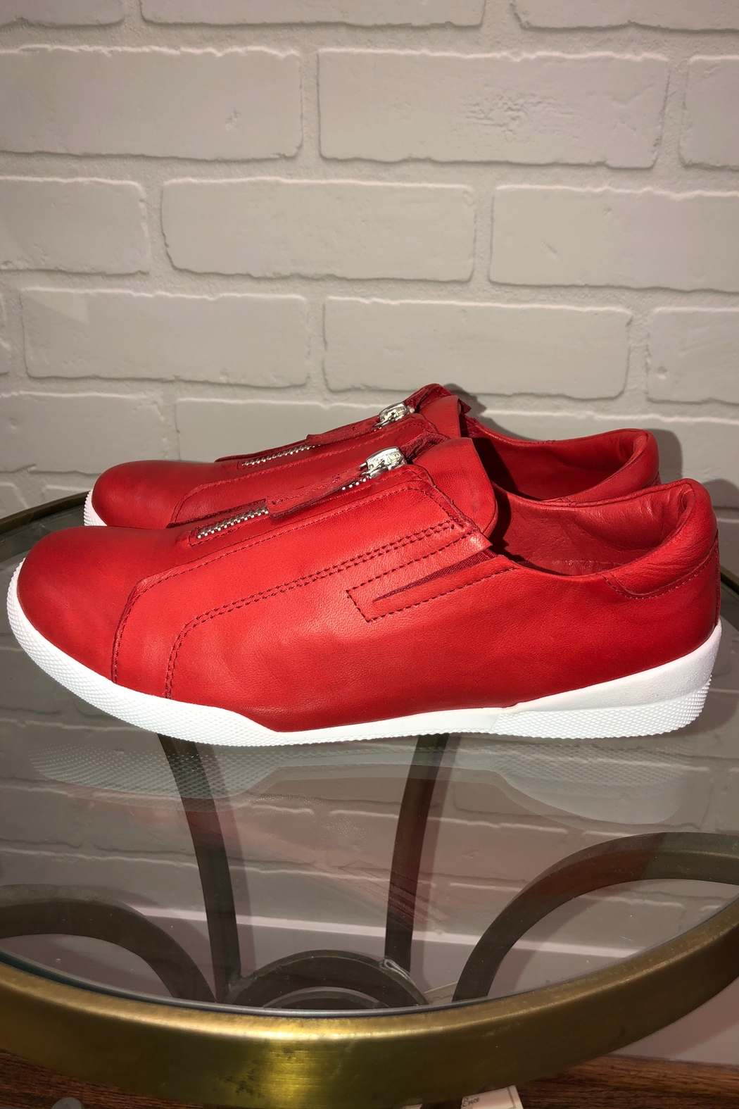 Andrea Conti Zip Front Sneaker - Front Full Image