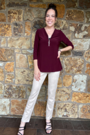 Bali Corp Zip front Vent Back Tunic Top - Product Mini Image
