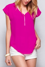 She + Sky Zip-Me-In-The-Front Fuchsia Top - Product Mini Image