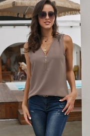 Shewin Zip Neckline Sleeveless Shirt Tank - Product Mini Image