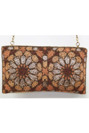 Ricki Designs Zip Top All Beaded Brown Flower Clutch - Front cropped