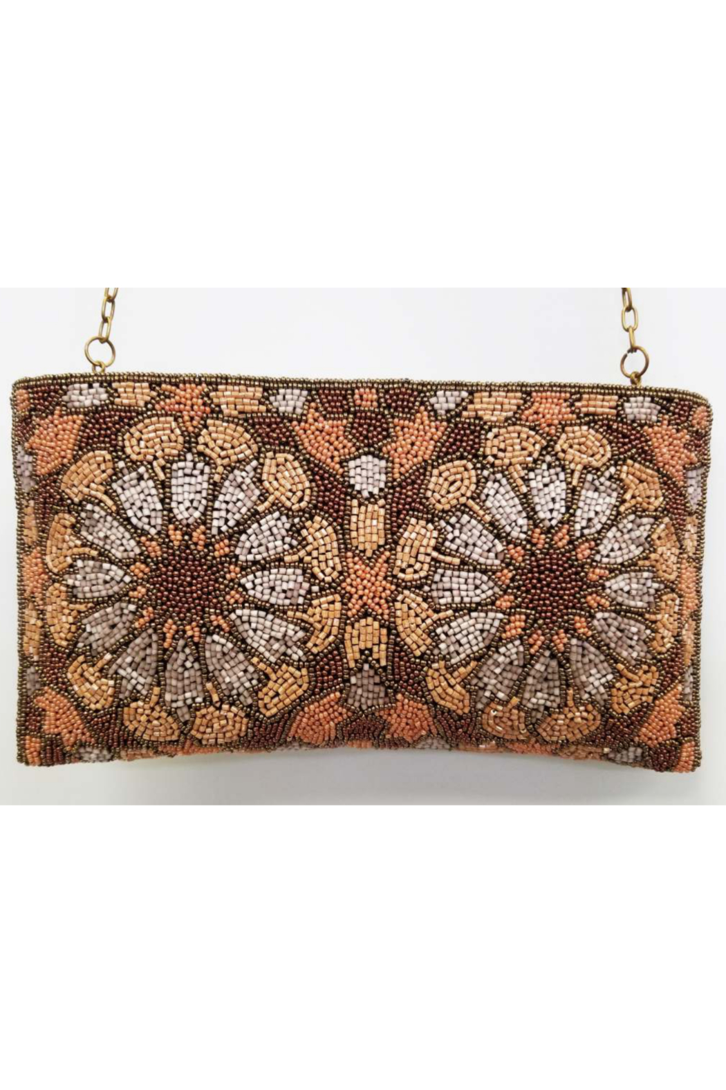 Ricki Designs Zip Top All Beaded Brown Flower Clutch - Front Cropped Image