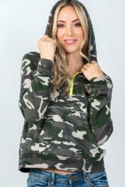 Honey Punch Camo Half Zip Hoodie - Product Mini Image