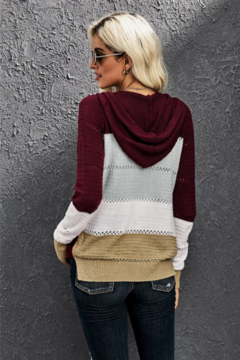 Shewin Zip Up Color Block Knit Sweater - Alternate List Image