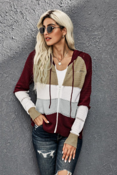 Shewin Zip Up Color Block Knit Sweater - Product List Image