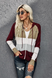 Shewin Zip Up Color Block Knit Sweater - Product Mini Image