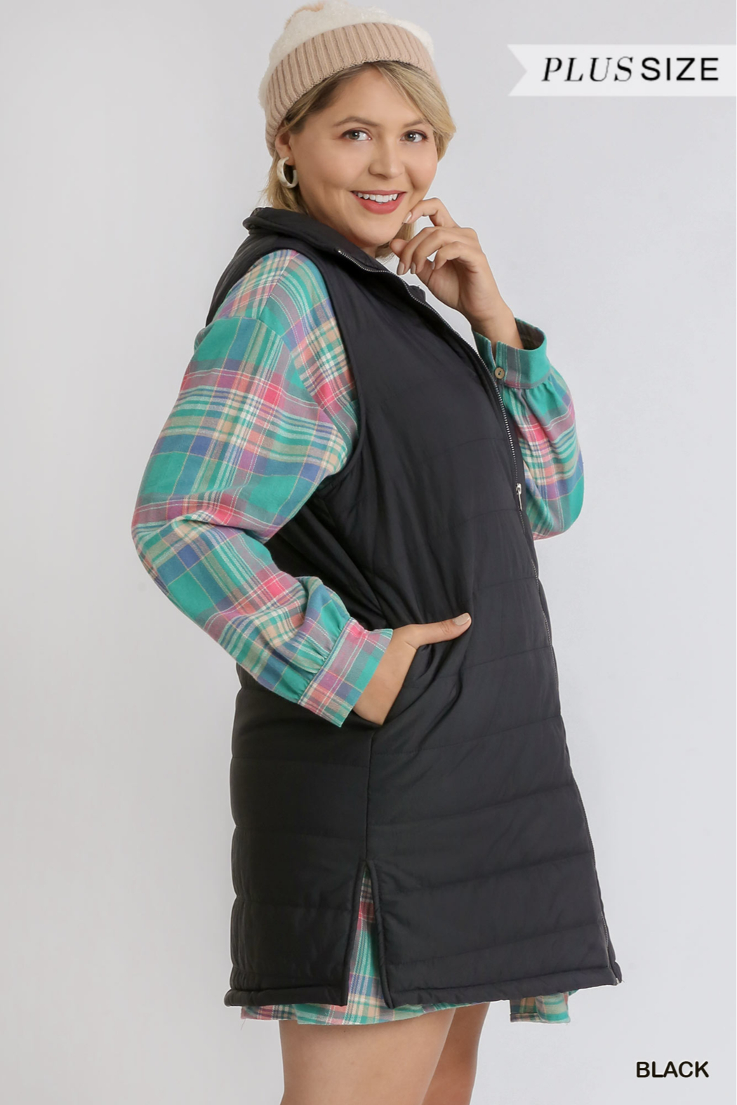 umgee  ZIP UP LONG VEST WITH SIDE SLITS - Front Full Image