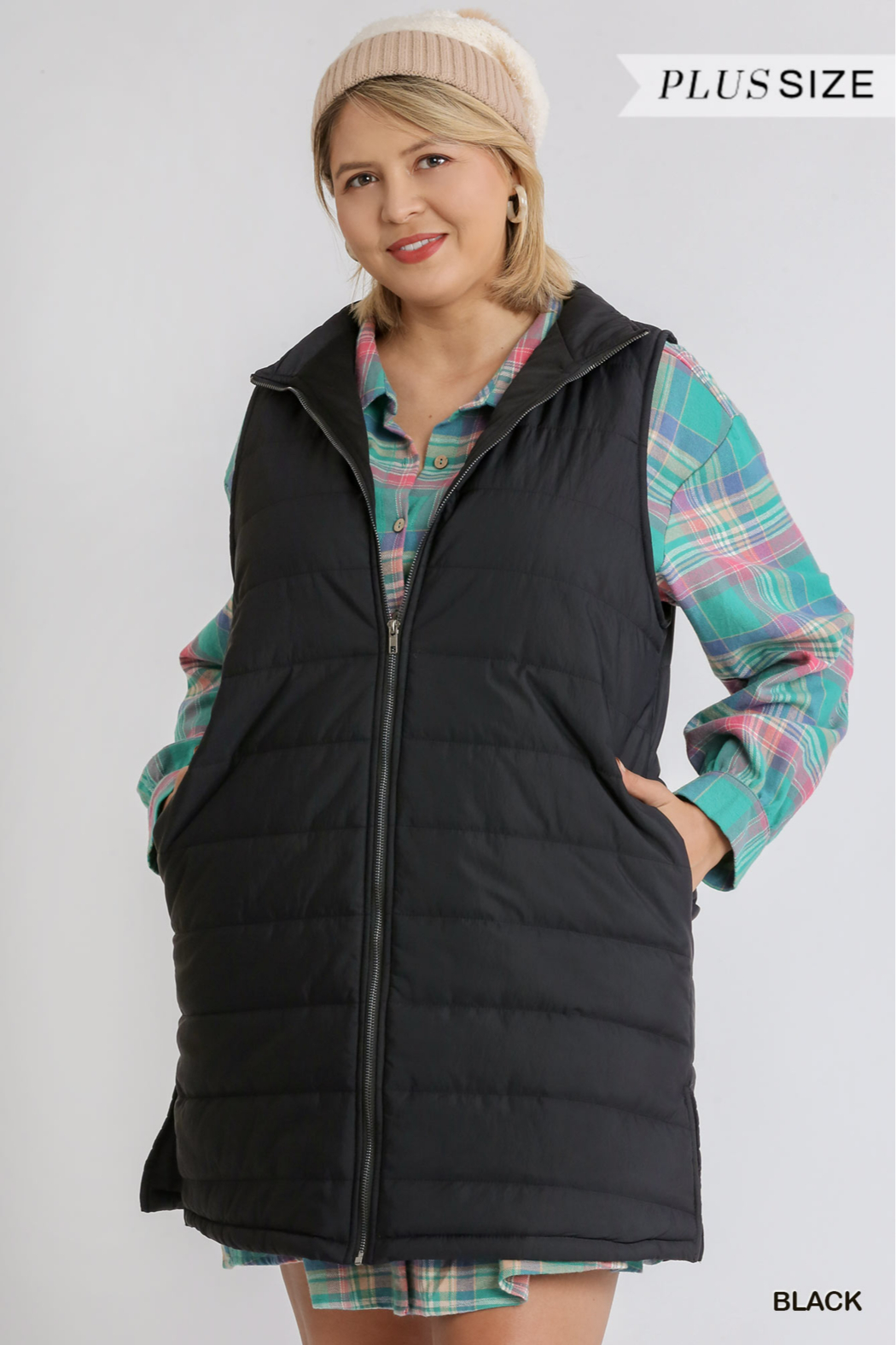 umgee  ZIP UP LONG VEST WITH SIDE SLITS - Main Image