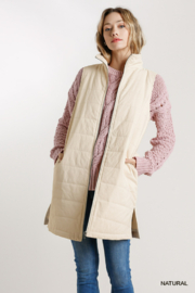 umgee  ZIP UP LONG VEST WITH SIDE SLITS - Product Mini Image