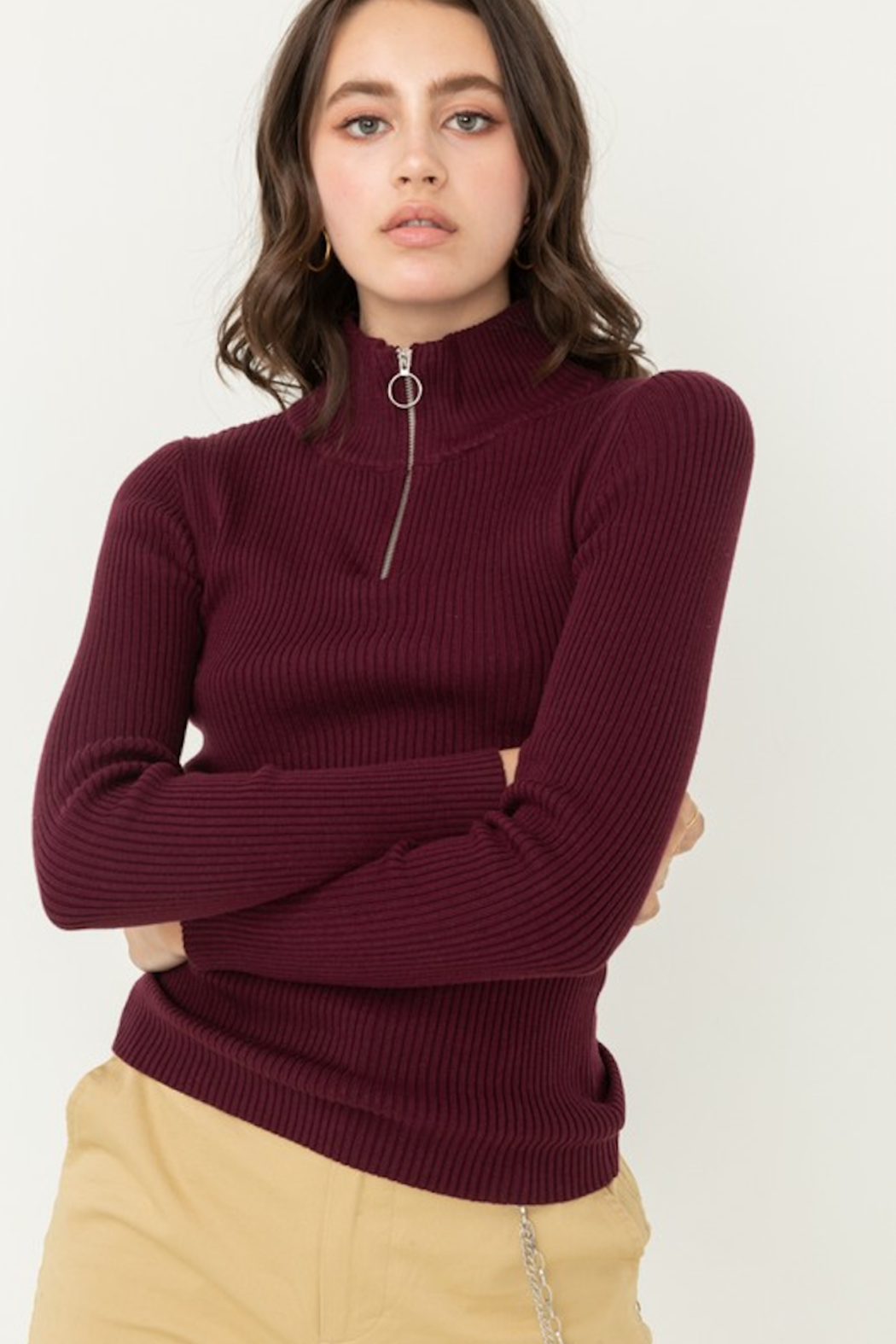 Love Tree Zip Up Mock Neck Ribbed Sweater - Front Cropped Image